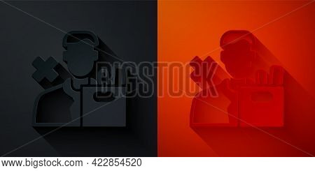 Paper Cut Dismissed Sad Young Man Carrying Box With His Personal Belonging Leaving His Job Icon Isol