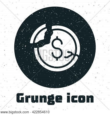 Grunge Dollar Rate Decrease Icon Isolated On White Background. Cost Reduction. Money Symbol With Dow