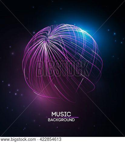 Music Background Line Flow. Vector Particle Big Data Visualisation Of Matrix. Equalizer For Music, S