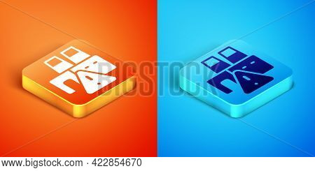 Isometric Shutdown Of Factory Icon Isolated On Orange And Blue Background. Industrial Building. Vect