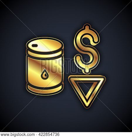 Gold Drop In Crude Oil Price Icon Isolated On Black Background. Oil Industry Crisis Concept. Vector