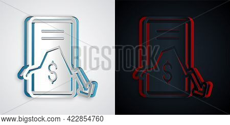Paper Cut Mobile Stock Trading Concept Icon Isolated On Grey And Black Background. Online Trading, S