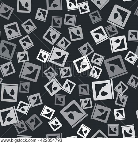 Grey Drop In Crude Oil Price Icon Isolated Seamless Pattern On Black Background. Oil Industry Crisis