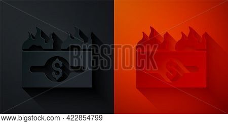 Paper Cut Burning Dollar Bill Icon Isolated On Black And Red Background. Dollar Bill On Fire. Burnin