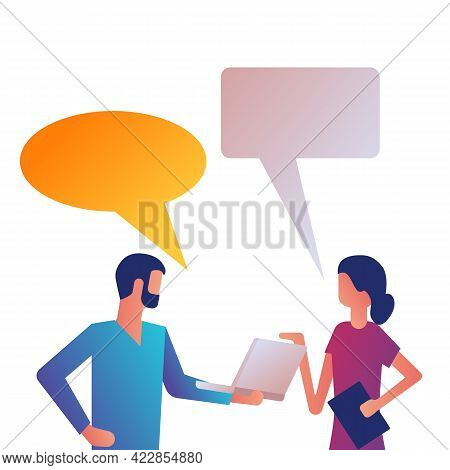 Business People Talking. Man And Woman Are Talking. Business Negotiations. Work Discussion. Corporat