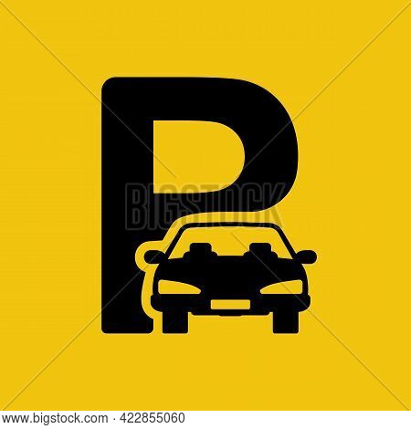 Parking Lot Icon. Black Car Silhouette With Stop Symbol. Road Sign. Abstract Pictogram. Vector Illus