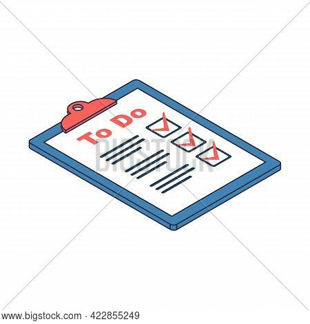 Writing To Do List. Checking Plan. Writes A List Of Cases With A Pencil. Vector Illustration Isometr