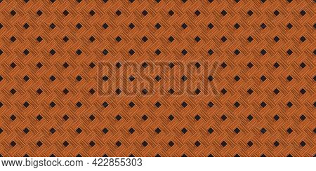Retro Brown Diagonal Crossed Wooden Plank Wall Texture Seamless Pattern Background Vector Illustrati