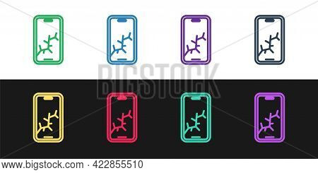 Set Line Smartphone With Broken Screen Icon Isolated On Black And White Background. Shattered Phone