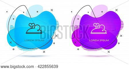 Line Clockwork Mouse Icon Isolated On White Background. Wind Up Mouse Toy. Abstract Banner With Liqu