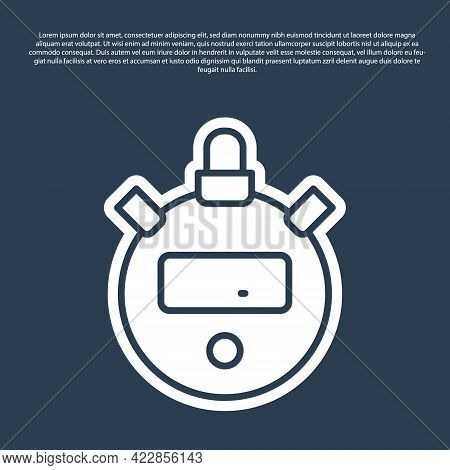 Blue Line Stopwatch Icon Isolated On Blue Background. Time Timer Sign. Chronometer Sign. Vector