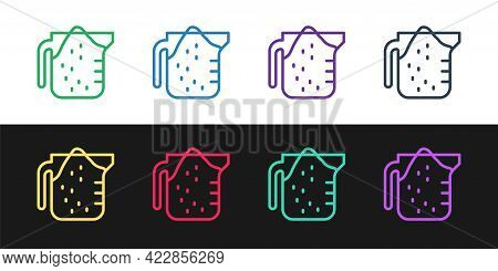 Set Line Measuring Cup To Measure Dry And Liquid Food Icon Isolated On Black And White Background. P