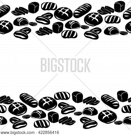 Horizontal Border From Silhouettes Of Different Types Of Bread, Decorative Frame From Varieties Of B
