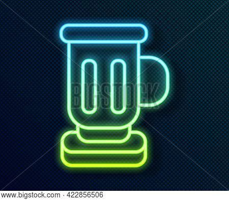 Glowing Neon Line Medieval Goblet Icon Isolated On Black Background. Vector