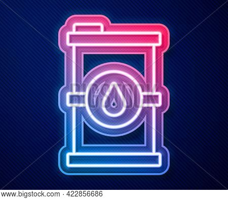 Glowing Neon Line Bio Fuel Barrel Icon Isolated On Blue Background. Eco Bio And Canister. Green Envi