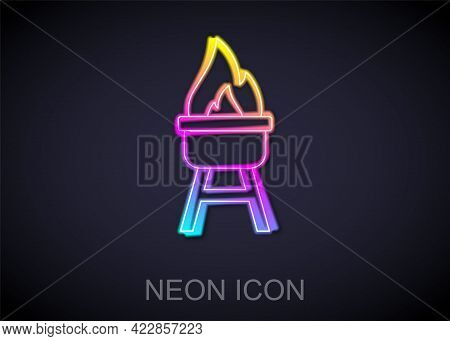 Glowing Neon Line Barbecue Grill Icon Isolated On Black Background. Bbq Grill Party. Vector