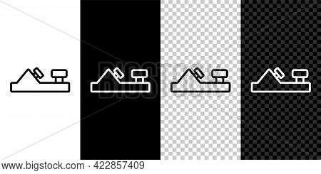 Set Line Wood Plane Tool For Woodworker Hand Crafted Icon Isolated On Black And White, Transparent B