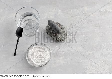 Natural Supplement. A Glass Of Water, Collagen Powder On A Light Background. Healthy Lifestyle Conce