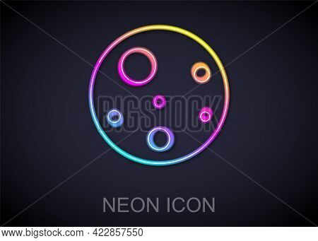 Glowing Neon Line Planet Mars Icon Isolated On Black Background. Vector