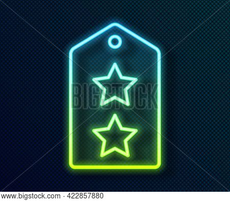 Glowing Neon Line Military Rank Icon Isolated On Black Background. Military Badge Sign. Vector