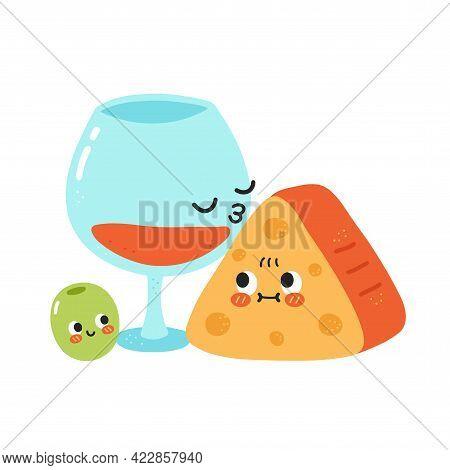 Cute Funny Wine Glass Kiss Cheese. Vector Hand Drawn Cartoon Kawaii Character Illustration Icon. Iso