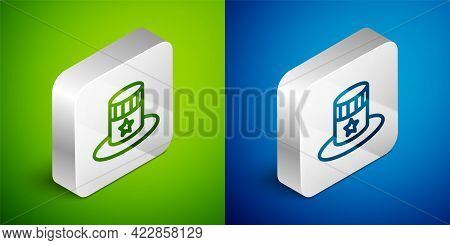 Isometric Line Patriotic American Top Hat Icon Isolated On Green And Blue Background. Uncle Sam Hat.