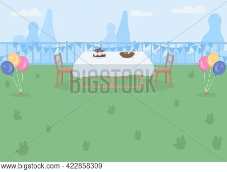 Backyard Party Place Flat Color Vector Illustration. Garden With Table And Chairs For Outdoor Dinner