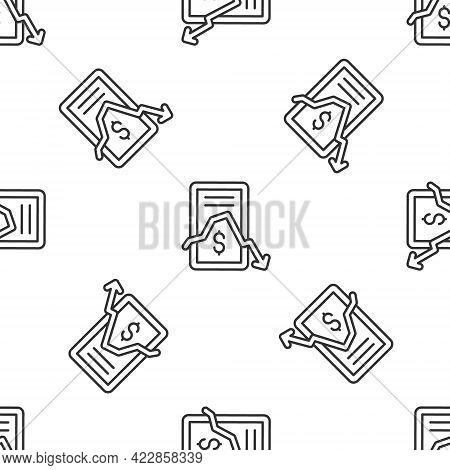 Grey Line Mobile Stock Trading Concept Icon Isolated Seamless Pattern On White Background. Online Tr