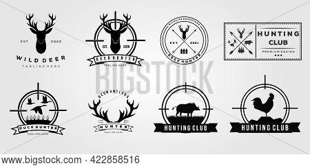 Deer Boar Hunting Hunt Logo. Duck Antler Rooster Logo Vector Illustration Design