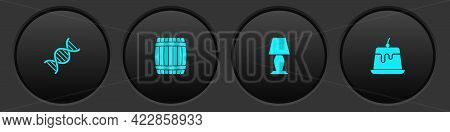 Set Dna Symbol, Wooden Barrel, Table Lamp And Pudding Custard Icon. Vector