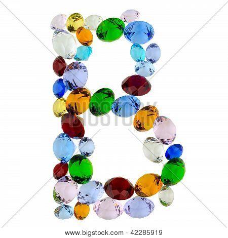 Letter B of gems