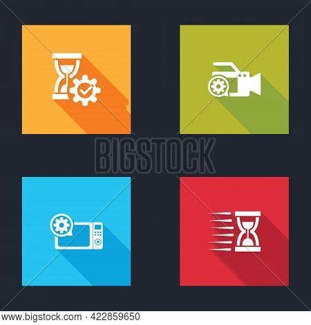 Set Hourglass Setting, Video Camera, Microwave Oven And Old Hourglass With Sand Icon. Vector
