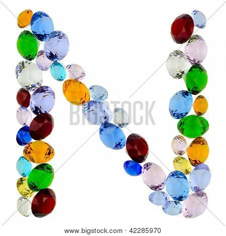 Letter N of gems