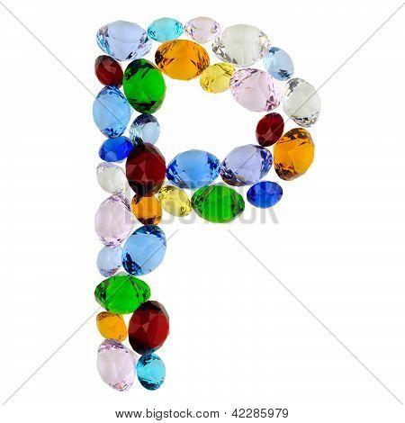 Letter P of gems