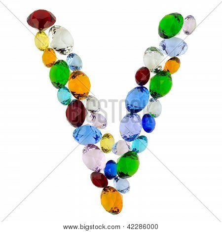 Letter V of gems