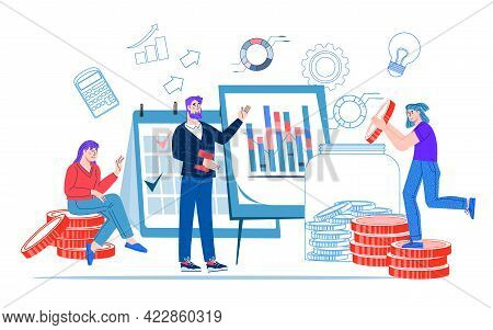 Financing Banking Banner Backdrop With Business People. Finance Income, Money Saving And Investments