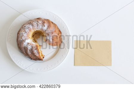 Food Mock-up Scene. Close Up Of Delicious Homemade Sponge Pound Cake On A White Table Background And