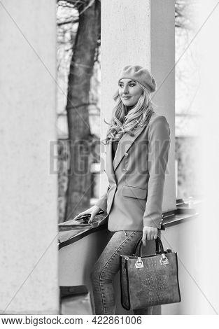 Stylish Parisian Lady. Apparel For Fall Season. Fashion Beauty. Autumn Female Outfit. Shop Vintage C