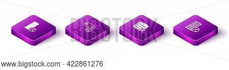 Set Isometric Refrigerator Service, Gamepad, Database Server And Mobile Apps Icon. Vector