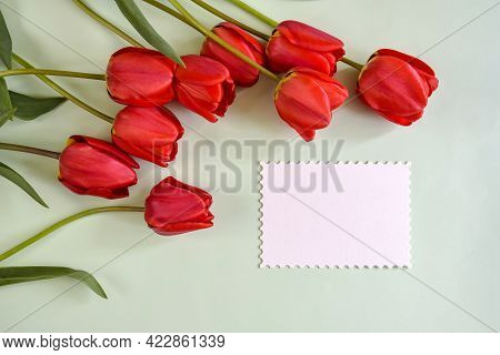 Fresh Red Tulips And White Sheet Of Paper On Light Green Background. Top View. Close-up. Copy Space.