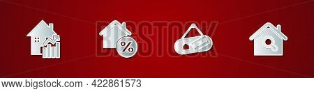 Set Rising Cost Of Housing, House With Percant, Hanging Sign Sold And Search House Icon. Vector