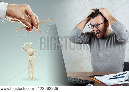 Male Hand, Puppeteer Controls The Puppet Puppet With Strings. Office Work, Man In The Office. The Co
