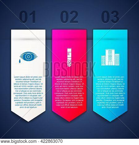 Set Reddish Eye Allergic Conjunctivitis, Test Tube And Flask And Medical Hospital Building. Business