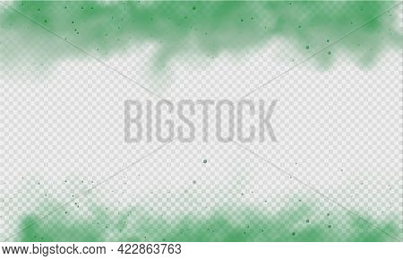 Green Fog Or Smoke. Green Dust With Particles. Smoke Or Dust Isolated On Transparent Background. Abs