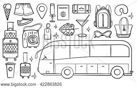 Road Bus Trip. Set Of Doodle Travel Design Elements. Hand Drawn Road Trip Doodles Perfect For Vacati