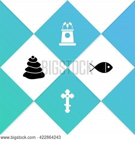 Set Stack Hot Stones, Christian Cross, Stage Stand Or Tribune And Fish Icon. Vector