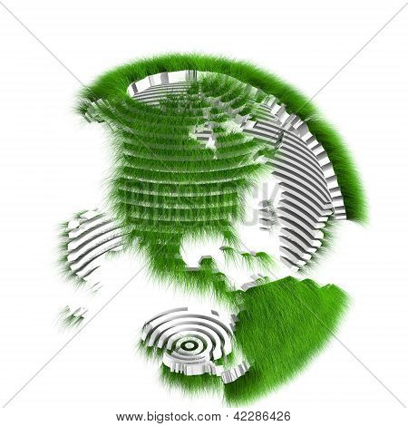 Rendered sliced earth globe covered with grass
