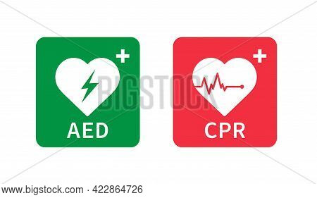 Aed And Cpr Icon. Emergency Defibrillator Sign. Automated External Defibrillator. Hearts Electricity