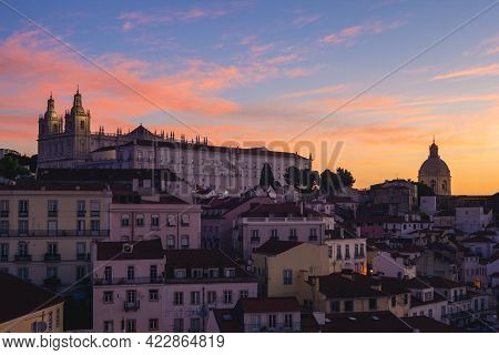 Skyline Of Alfama District In Lisbon, Capital Of Portugal