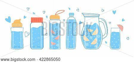 Drink Plenty Of Water. A Set Of Water Or Liquid Bottles. Vector.
